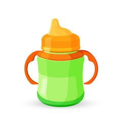 baby cup bottle green orange translucent drinking vector image vector image