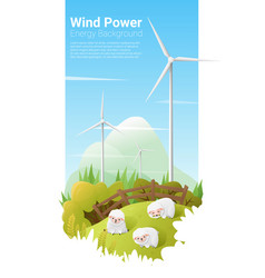 energy concept background with wind turbine 10 vector image vector image