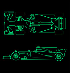 formula car linear light silhouette of a racing vector image