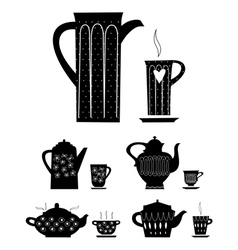 kettle and cup of tea vector image vector image
