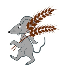 Little mouse with wheat on a white background vector image vector image