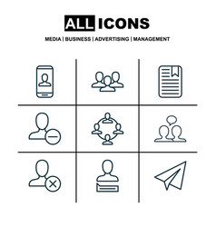 set of 9 social network icons includes chatting vector image