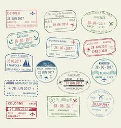 visa passport stamp symbol set for travel design vector image vector image