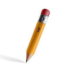 wooden pencil with eraser isolated on white vector image vector image