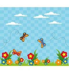 Cartoon garden landscape design vector image