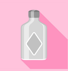 Clear glass bottle with squared sides icon vector