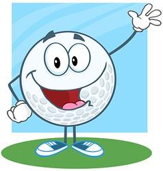 Golf Ball Character Waving For Greeting vector image vector image