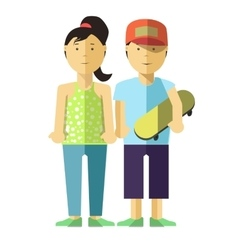 Happy girl and boy with skate Young people in vector image