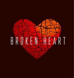 love icon concept abstract broken heart symbol red vector image vector image