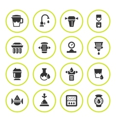 Set round icons of water filters vector image