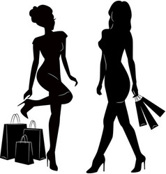 shopping women silhouettes vector image vector image