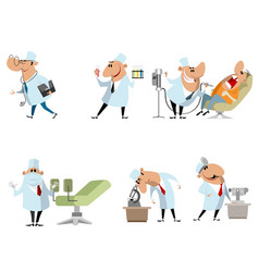 six different doctors vector image