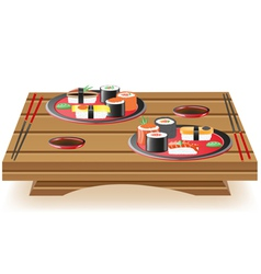 sushi wooden table vector image