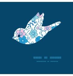 blue and pink kimono blossoms bird vector image