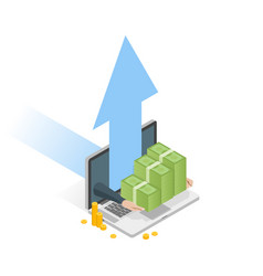 hand holding money stack isometric laptop with vector image