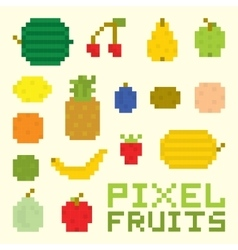 Pixel art fruits isolated set vector image