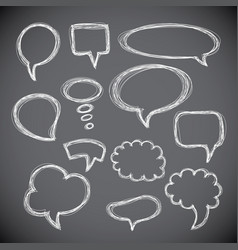 set of hand-drawn speech and thought bubbles vector image vector image
