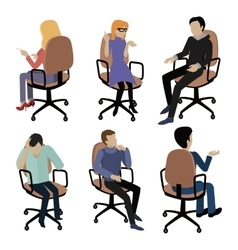 Set of People Sitting Man and Woman at Work vector image vector image