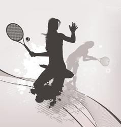 tennis girl background vector image vector image