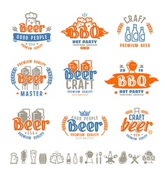 Barbecue and craft beer brewery emblems vector image vector image