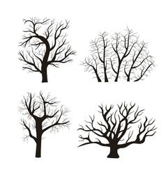 cartoon silhouette black tree icon set vector image vector image