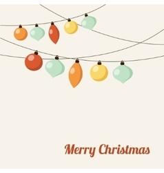 Christmas greeting card with garland christmas vector image vector image