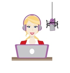 Female blonde Disc Jockey radio station vector image