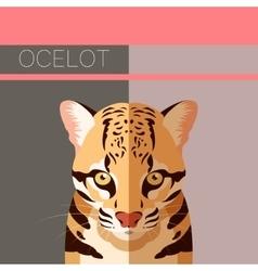 Flat postcard with Ocelot vector image vector image