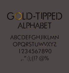 gold-tipped abc with numbers and punctuation marks vector image vector image