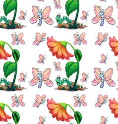 Seamless butterfly and flower vector image