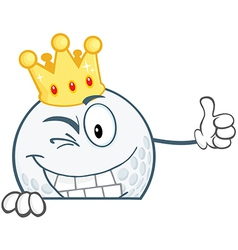 Winking Golf Ball With Gold Crown Over Sign vector image vector image