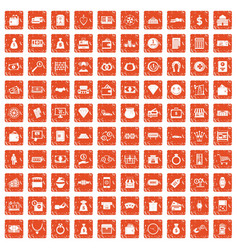100 money icons set grunge orange vector