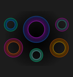 3d circle neon set big data visualization vector