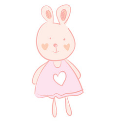 a big eared hare wearing a cute pink dress with a vector image