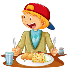 A boy having meal at table on white background vector