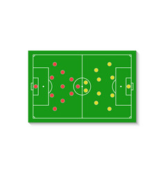 a green football field with a tactical scheme of vector image