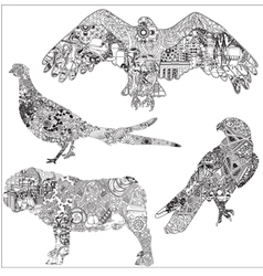 A set of animals with patterns vector