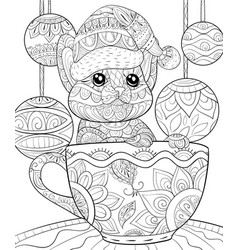 Christmas Cat Coloring Page Vector Images 68