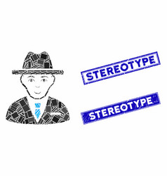 Agent mosaic and grunge rectangle stereotype seals vector