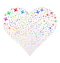 airplane fireworks heart vector image
