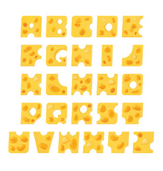 alphabet from pieces cheese cheese font vector image