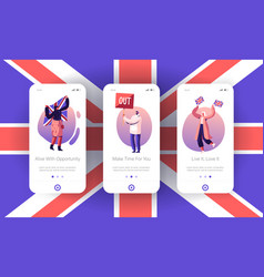 Anti brexit supporters strike mobile app page vector