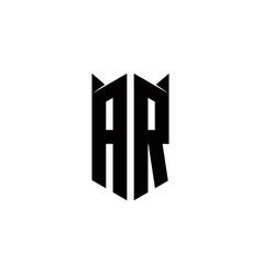 Ar logo monogram with shield shape designs vector