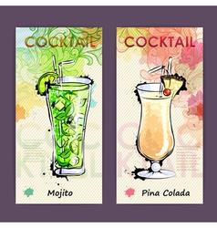 Artistic decorative cocktail menu vector image