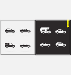 Big set of car icons in black and white vector