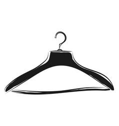 black coat hanger sketch color on white background vector image