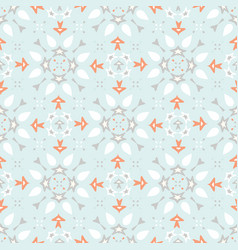 blue and orange winter star ornamental seamless vector image