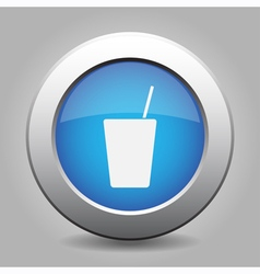 Blue metal button with drink vector