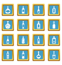 bottles icons set sapphirine square vector image