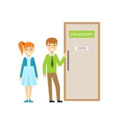 Boy and girl in front of classroom door part of vector